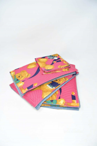 4 Placemats In Wool Colorful Fantasy Teddy Bears + Napkins Zanolini Made In Uk