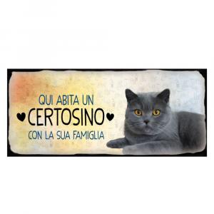 Placca in metallo gatto certosino