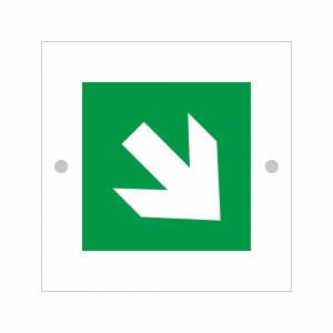 Cartello in plexiglass serie Avantgarde E006 freccia direzionale obliqua orientata a 45 gradi