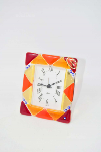 Table Clock Glass Murano Red With Triangles 10x12 Cm