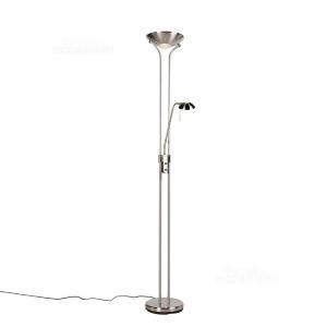 Lampada da terra in acciaio con lampada da lettura con LED e dimmer