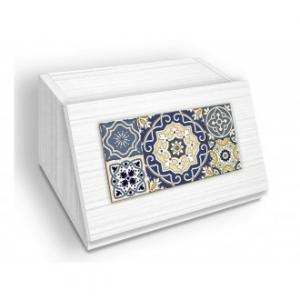 Porta Pane In Legno Con Apertura Frontale Colore Beige Chiaro Stile Shabby Azulejos Blu Con Decorazioni Forme Geometriche Casa Cucina Antica