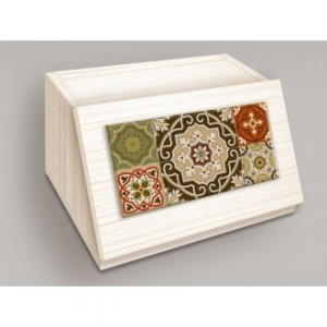 Porta Pane In Legno Con Apertura Frontale Colore Beige Chiaro Stile Shabby Azulejos Brow Con Decorazioni Forme Geometriche Casa Cucina Antica