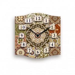 Orologio Da Parete 38x38 cm Stile Shabby Azulej Colore Brown Con Decorazioni Beige Casa