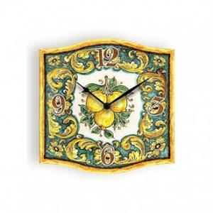 Orologio Da Parete 38x38 cm Stile Shabby Azulej Colore Lemon Giallo Con Decorazioni Varie Casa