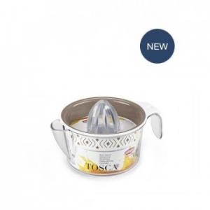 Linea Tosca Spremiagrumi Colore Bianco Tortora Decorato In Plastica Con Manico Facile Veloce Funzionale Casa Cucina