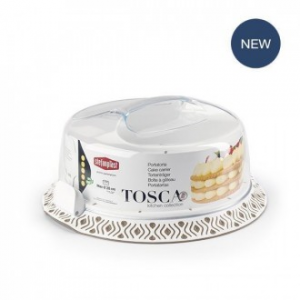 Linea Tosca Porta Torte Colore Bianco E Tortora Con Coperchio In Plastica Conservare Torte Dolci Casa Utensili Cucina Dolci