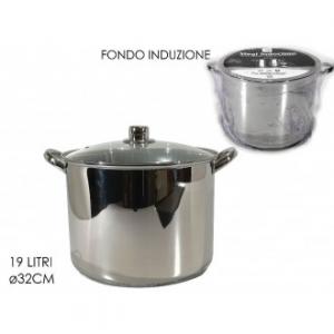 Pentola Steel Ad Induzione 32 Cm In Acciaio Fondo Ad Induzione Capienza Massima 14 Litri Con Manici Con Coperchio Casa Cucina