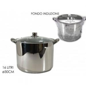 Pentola Steel Ad Induzione 30 Cm In Acciaio Fondo Ad Induzione Capienza Massima 14 Litri Con Manici Con Coperchio Casa Cucina