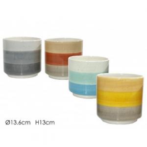 Cache-Pot A Righe Forma Circolare Disponibile In Vari Colori Assortiti Arredo Casa In Ceramica