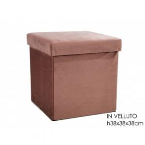Pouf Richiudibile In Velluto Colore Rosa 38x38 cm Arredo Funzionale Casa