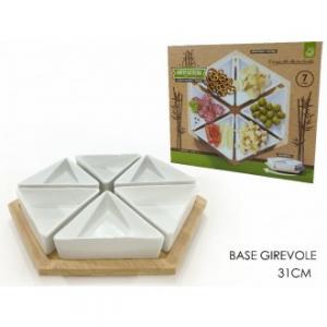 Set 6 Antipastiere Con Base Girevole In Bamboo Per Antipasto Aperitivo Ciotole 31 Cm Casa Cucina