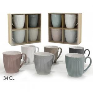 Confezione 4 Tazze Vari Colori Pastello Disponibili In Ceramica 34 Cl Per Tisane e Caffè Casa Cucina
