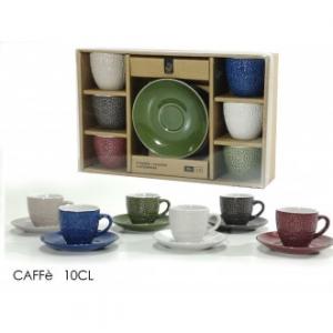 Confezione 6 Tazzine Per Caffè Con Piattino Coordinato In Ceramica Diverse Colorazioni Assortite Casa Cucina