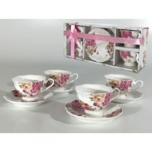 Linea Romantic Confezione 4 Tazze Da Caffè The Con Piattino Coordinato Con Decorazioni Floreali Stile Classico Casa