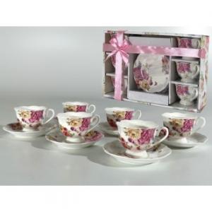 Linea Romantic Confezione 6 Tazze Da Caffè The Con Piattino Coordinato Con Decorazioni Floreali Stile Classico Casa
