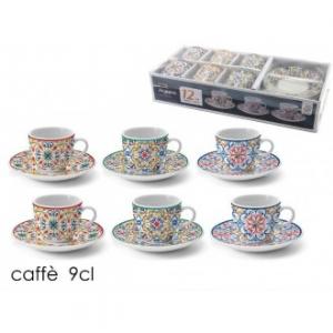 Confezione 6 Tazzine Da Caffè Con Piattino Coordinato Maiolica Mix Con Diverse Colorazioni Maiolica Estive Casa Cucina