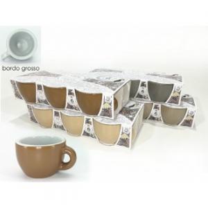 Confezione 6 Tazze Da Caffè Senza Piattino Seline Con Bordo Grosso Diversi Colori Assortiti Disponibili In Ceramica