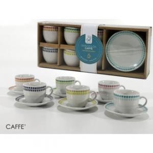Confezione 6 Tazzine Da Caffè Con Piattino Coordinato Painting Colore Bianco Con Decorazioni Varie Bordo