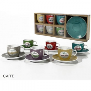 Confezione 6 Tazzine Da Caffè Con Piattino Coordinato Caffè Mix Diversi Colori Assortiti Decorati Con Scritte Casa Cucina