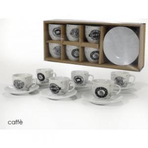 Confezione 6 Tazzine Da Caffè Con Piattino Coordinato Coffee Colore Bianco Con Decorazioni Nere Casa Cucina