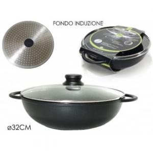 Padella Wok 32 Cm Colore Nero Con Coperchio Trasparente Coordinato Con Fondo Ad Induzione Cucina Casa