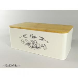 Porta Pane In Latta Colore Bianco Con Scritta Con Coperchio In Legno Contenitore Casa Cucina