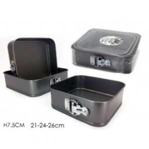 Set 3 Tortiera Quadrate Con Cerniera Con 3 Diverse Dimensioni 21-24-26 cm Colore Nero Antiaderente Casa Cucina