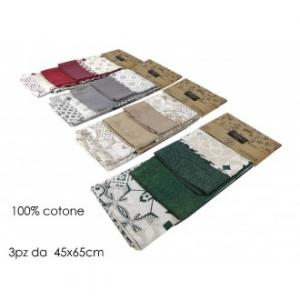 Set 3 Canovacci Decorazione Maiolica 100% Cotone Disponibili In Vari Colori Assortiti Utilizzati In Cucina Casa Utili