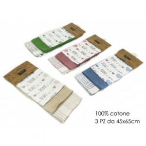 Set 3 Canovacci Con Cuori 100% Cotone Disponibili In Vari Colori Assortiti Utilizzati In Cucina Casa Utili