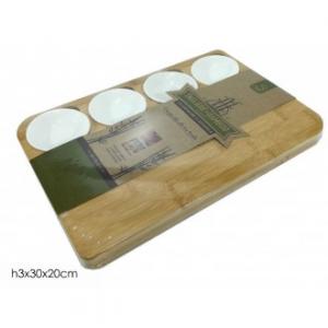 Tagliere In Bamboo Con 4 Ciotole Laterali Bianche In Legno Ecologico Ecosostenibile Pratico Cucina Casa