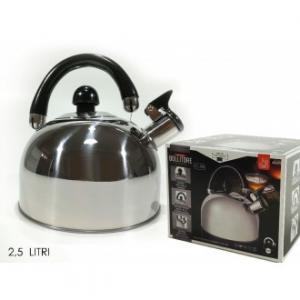 Bollitore 2,5 Litri In Acciaio Inox Con Manico Nero Per Tisane e Infusi Invernali Casa Cucina