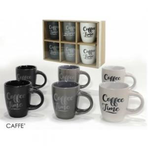 Confezione 6 Tazze Per Caffè Con Scritta Vari Colori In Ceramica Casa Cucina Servizio Tazze