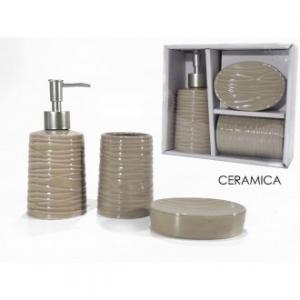 Set Da Bagno 3 Pezzi Colore Beige Chiaro In Ceramica Con Porta Sapone Porta Spazzolino E Contenitore Sapone Ideale Bagno
