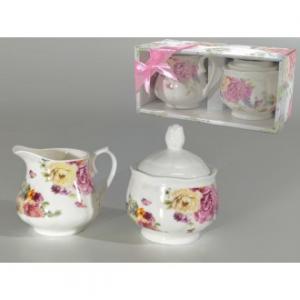 Set Lattiera e Zuccheriera Con Coperchio Colore Bianco In Ceramica Decorazione Floreale Classico Stile Casa Cucina