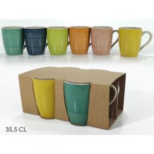 Confezione 4 Tazzoni 35,5 Cl In Diversi Colori Assortiti In Ceramica Casa Cucina Tavola Colazione