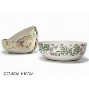 Insalatiera 27,5 Cm Colore Bianco Con Varie Decorazioni Disponibili In 3 Colori Assortiti Cucina Ciotola