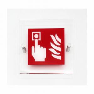 Cartello in plexiglass serie Plexline pittogramma Pulsante allarme antincendio