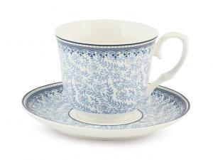 H&H 2 tazze tè in porcellana bianca e blu