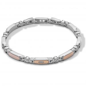 Comete Elegant bracciale uomo in acciaio lucido e diamanti UBR1009