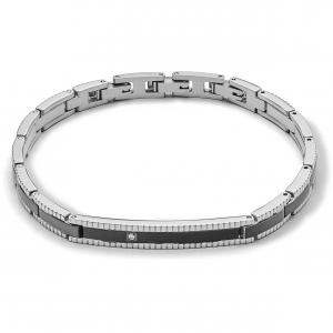 Comete Tyres bracciale uomo in acciaio lucido PVD nero UBR1013