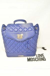 Zainetto Love Moschino Trapuntato Ecopelle Blu 27x15x30 Cm Con Dust Bag