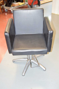 Armchair From Barbiere Black Leather Swiveling And Alzabile