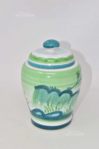 Jar Hand Painted White Green With Lid (defect)