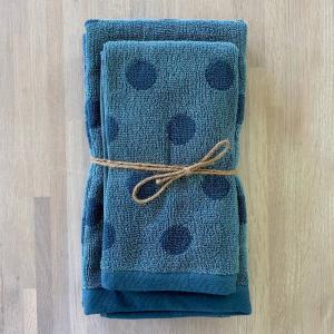 Coppia asciugamani pois bicolor blu