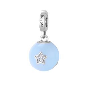 Charm Rosato in argento 925 con smalto celeste Nascita RZ185R