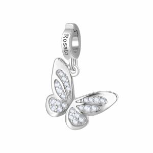 Charm Rosato in argento 925 Farfalla con zirconi  RZ180R