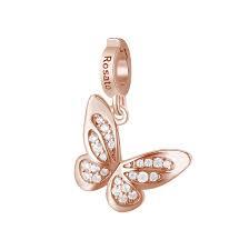 Charm Rosato in argento 925 Farfalla rosè con zirconi  RZ180