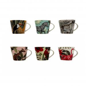 H&H tazza te senza piatto porcellana decoro savana