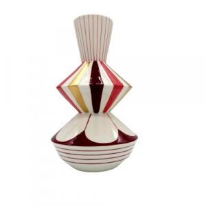 EDG vaso geometrie bianco decorato altezza 29cm